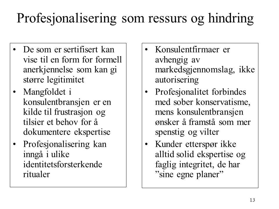 13 Profesjonalisering som ressurs og hindring De som er sertifisert kan vise til en form for formell anerkjennelse som kan gi større legitimitet Mangf