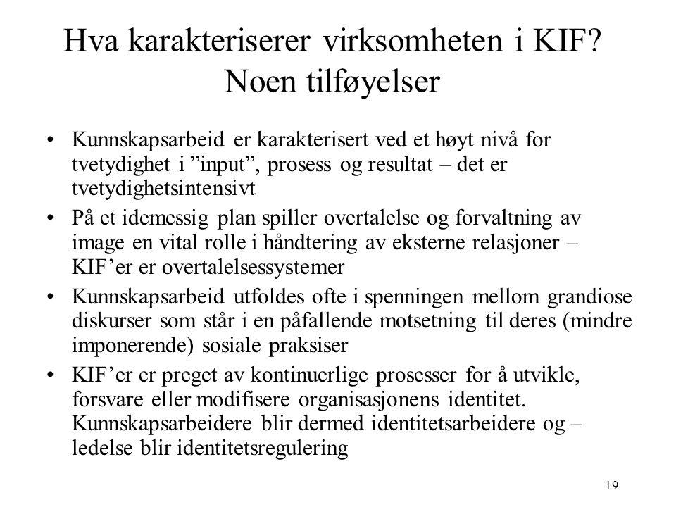 """19 Hva karakteriserer virksomheten i KIF? Noen tilføyelser Kunnskapsarbeid er karakterisert ved et høyt nivå for tvetydighet i """"input"""", prosess og res"""