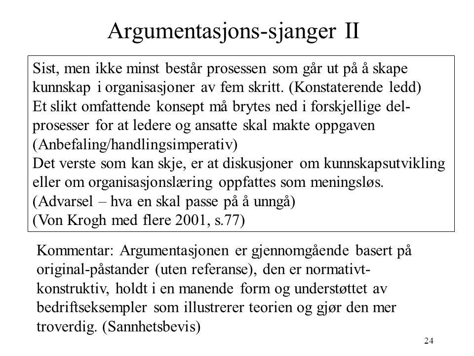 24 Argumentasjons-sjanger II Sist, men ikke minst består prosessen som går ut på å skape kunnskap i organisasjoner av fem skritt. (Konstaterende ledd)