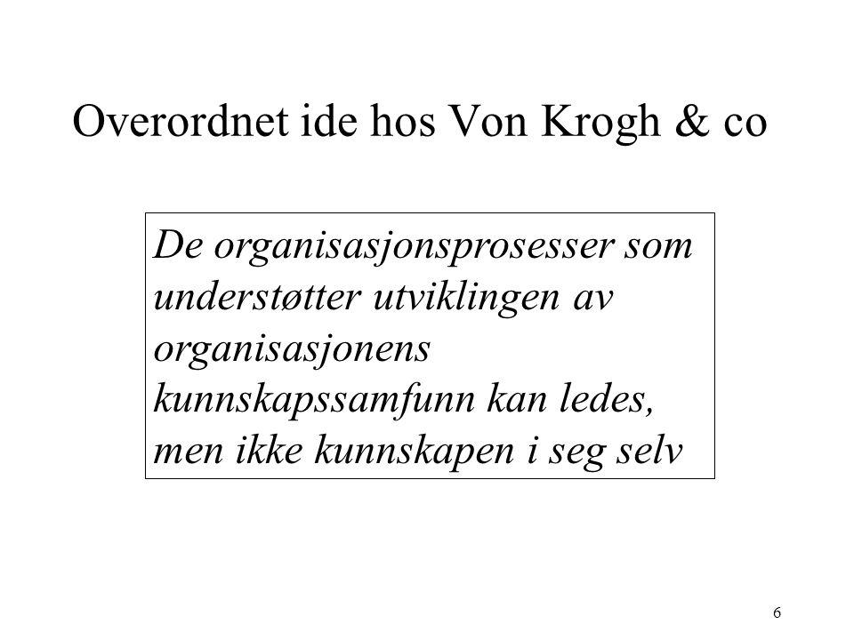 6 Overordnet ide hos Von Krogh & co De organisasjonsprosesser som understøtter utviklingen av organisasjonens kunnskapssamfunn kan ledes, men ikke kun