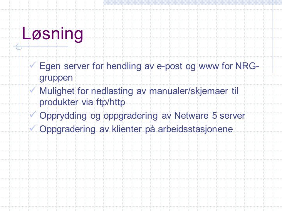Løsning Egen server for hendling av e-post og www for NRG- gruppen Mulighet for nedlasting av manualer/skjemaer til produkter via ftp/http Opprydding og oppgradering av Netware 5 server Oppgradering av klienter på arbeidsstasjonene