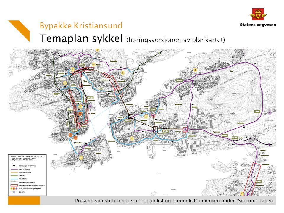 Temaplan sykkel (høringsversjonen av plankartet) Bypakke Kristiansund Presentasjonstittel endres i Topptekst og bunntekst i menyen under Sett inn -fanen