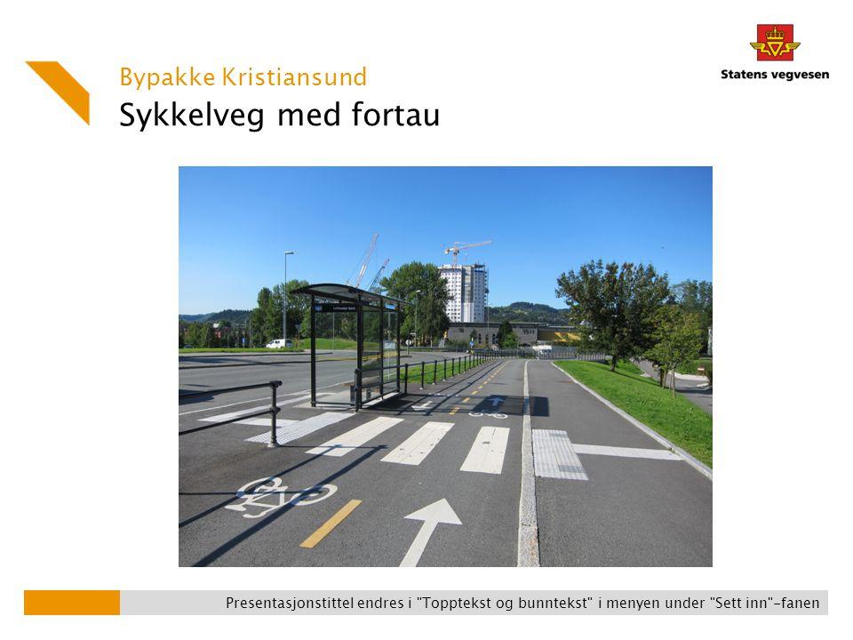 Sykkelveg med fortau Bypakke Kristiansund Presentasjonstittel endres i Topptekst og bunntekst i menyen under Sett inn -fanen