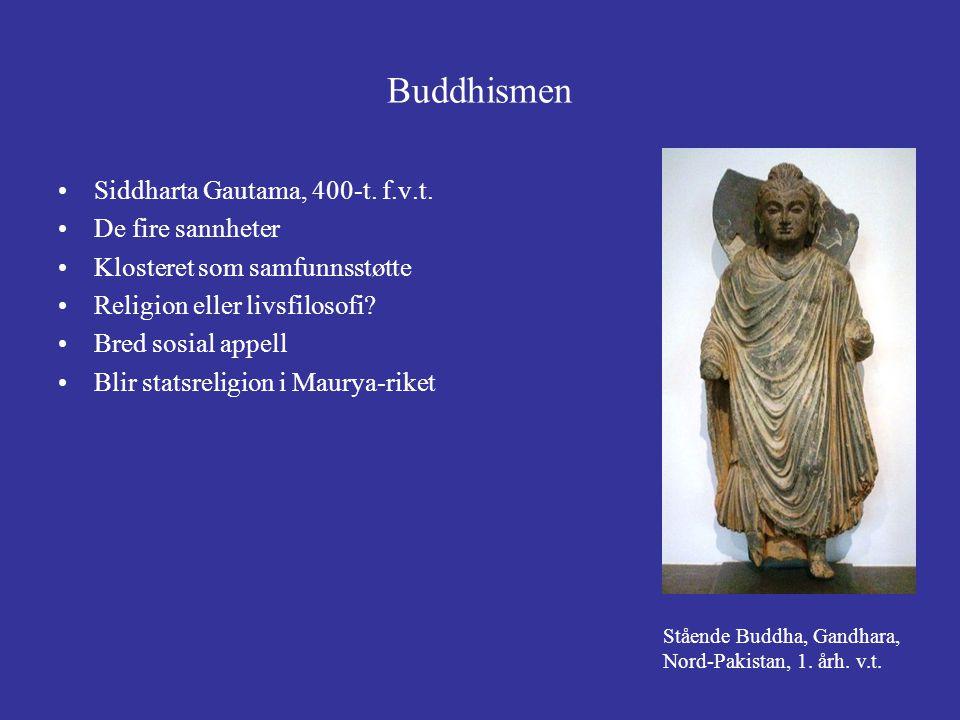 Buddhismen Siddharta Gautama, 400-t. f.v.t. De fire sannheter Klosteret som samfunnsstøtte Religion eller livsfilosofi? Bred sosial appell Blir statsr