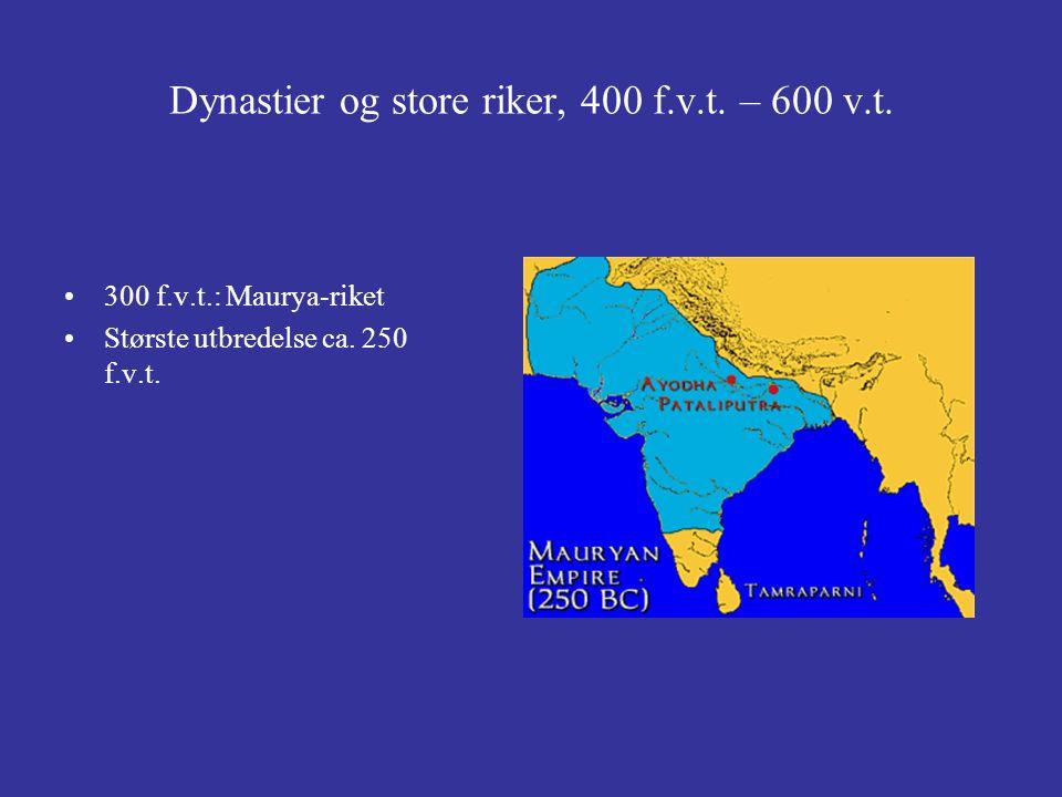 Dynastier og store riker, 400 f.v.t. – 600 v.t. 300 f.v.t.: Maurya-riket Største utbredelse ca. 250 f.v.t.