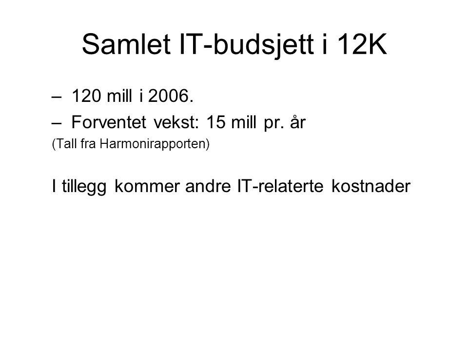 Samlet IT-budsjett i 12K – 120 mill i 2006. – Forventet vekst: 15 mill pr. år (Tall fra Harmonirapporten) I tillegg kommer andre IT-relaterte kostnade