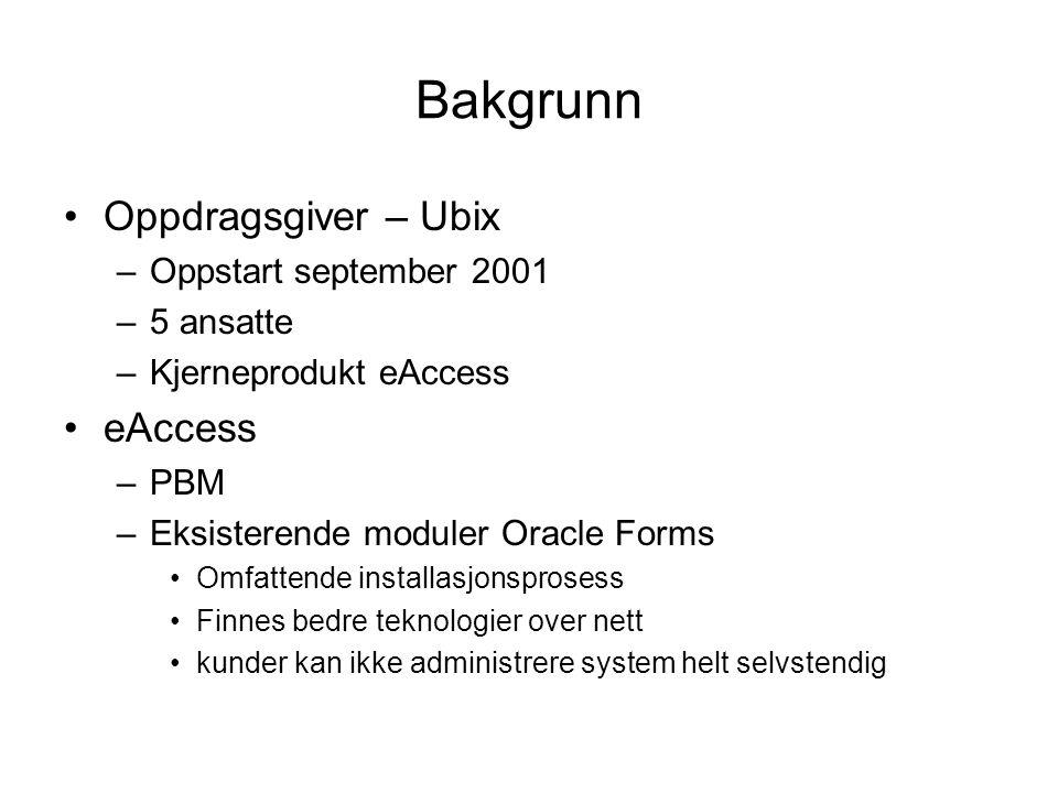 Bakgrunn Oppdragsgiver – Ubix –Oppstart september 2001 –5 ansatte –Kjerneprodukt eAccess eAccess –PBM –Eksisterende moduler Oracle Forms Omfattende installasjonsprosess Finnes bedre teknologier over nett kunder kan ikke administrere system helt selvstendig