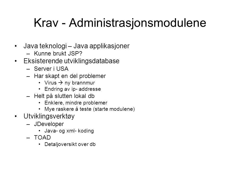 Krav - Administrasjonsmodulene Java teknologi – Java applikasjoner –Kunne brukt JSP.