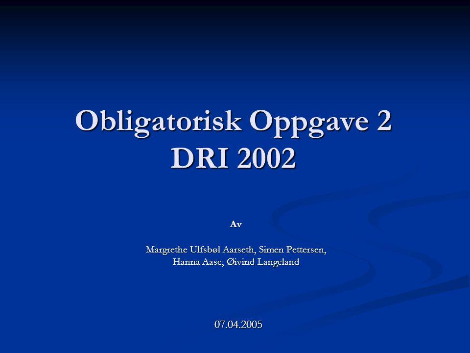 Obligatorisk Oppgave 2 DRI 2002 Av Margrethe Ulfsbøl Aarseth, Simen Pettersen, Hanna Aase, Øivind Langeland 07.04.2005