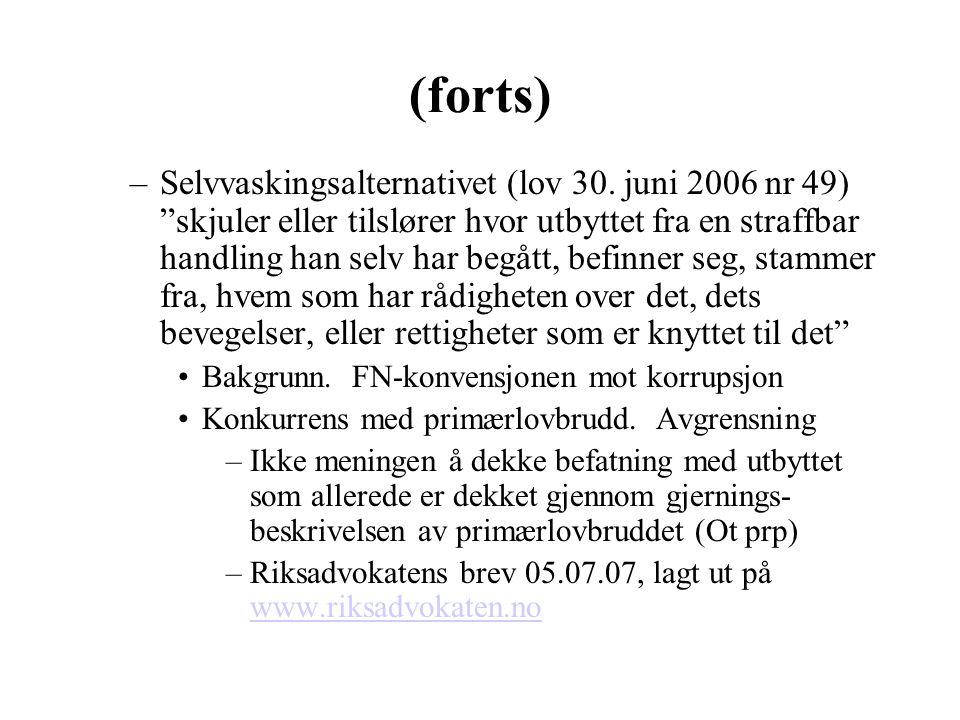 """(forts) –Selvvaskingsalternativet (lov 30. juni 2006 nr 49) """"skjuler eller tilslører hvor utbyttet fra en straffbar handling han selv har begått, befi"""
