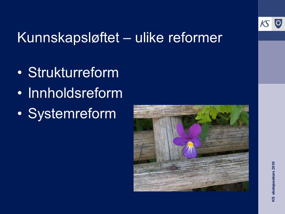 KS skolejusskurs 2010 Kunnskapsløftet – ulike reformer Strukturreform Innholdsreform Systemreform