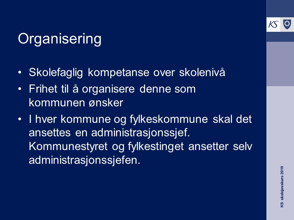 KS skolejusskurs 2010 Organisering Skolefaglig kompetanse over skolenivå Frihet til å organisere denne som kommunen ønsker I hver kommune og fylkeskom