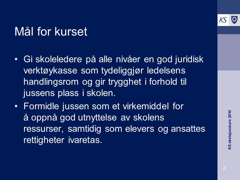 KS skolejusskurs 2010 3 Foreløpig program tirsdag 28.september 1000 - 1145: Skolens plass i kommunen.
