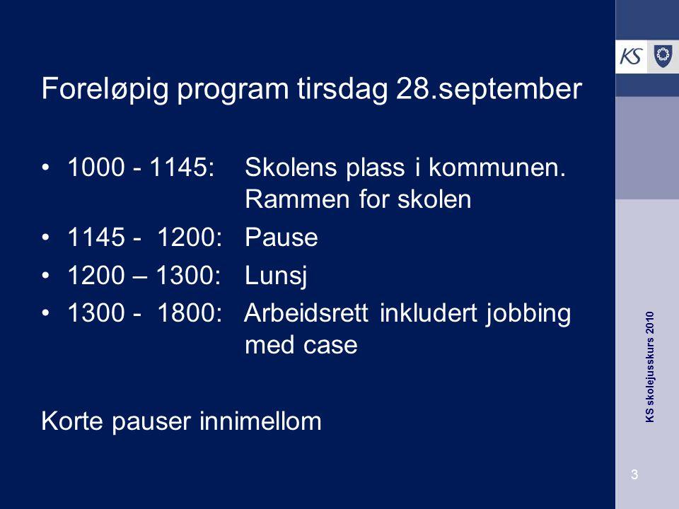 KS skolejusskurs 2010 54 Arbeidsplaner Arbeidsplan fastsetter arbeidsgiver etter samtale Ytre rammer pluss undervisningstid Ikke 38 like uker Ytre rammer kan endres med 14.