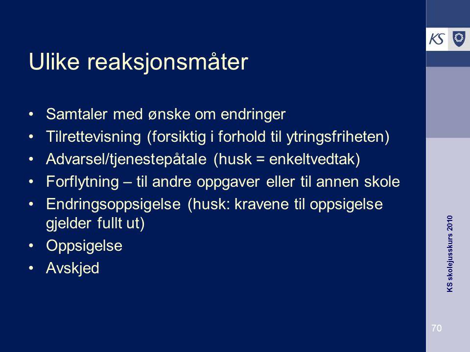 KS skolejusskurs 2010 70 Ulike reaksjonsmåter Samtaler med ønske om endringer Tilrettevisning (forsiktig i forhold til ytringsfriheten) Advarsel/tjene