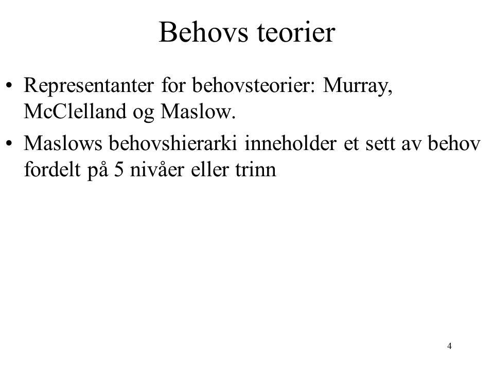 4 Behovs teorier Representanter for behovsteorier: Murray, McClelland og Maslow.