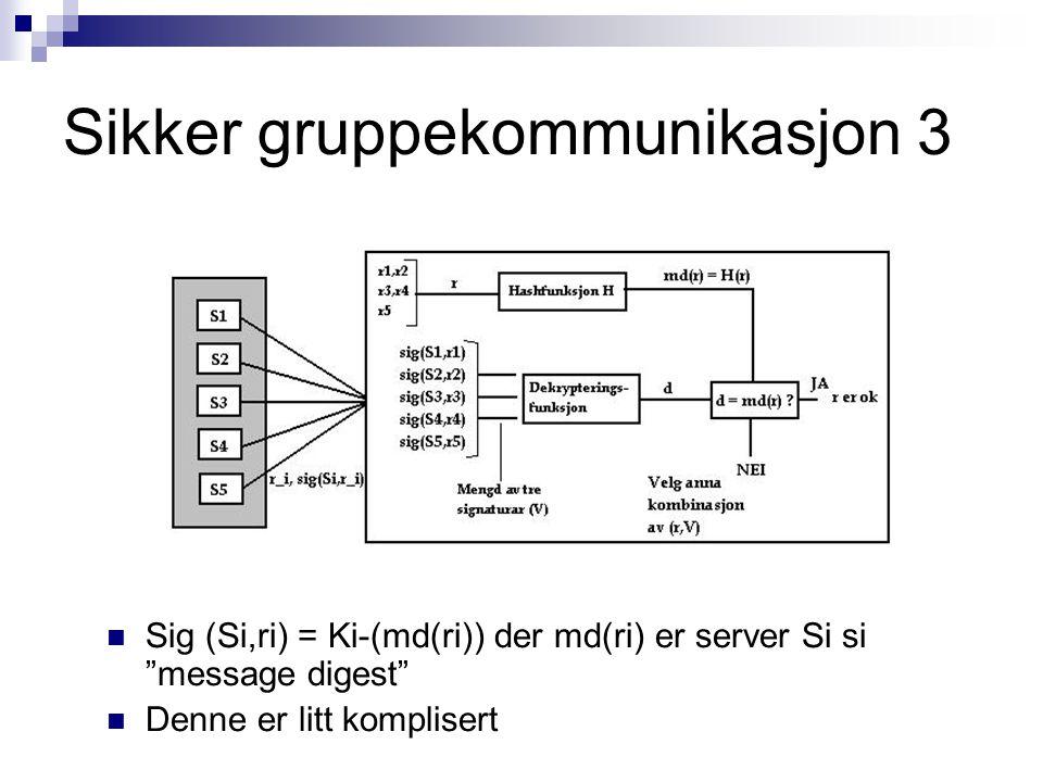 """Sikker gruppekommunikasjon 3 Sig (Si,ri) = Ki-(md(ri)) der md(ri) er server Si si """"message digest"""" Denne er litt komplisert"""