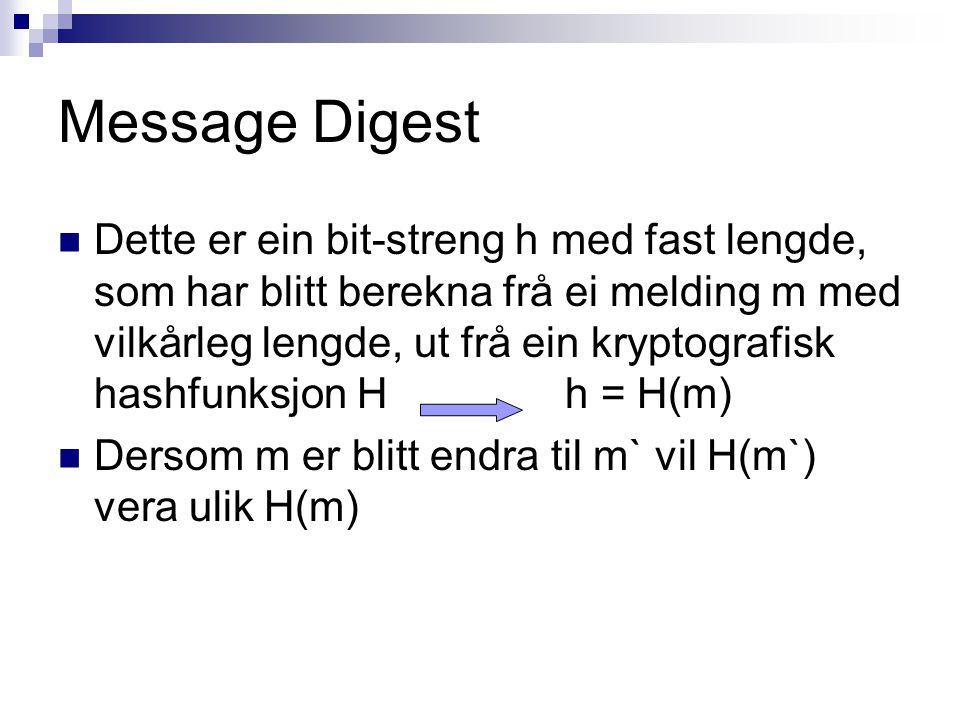 Message Digest Dette er ein bit-streng h med fast lengde, som har blitt berekna frå ei melding m med vilkårleg lengde, ut frå ein kryptografisk hashfu