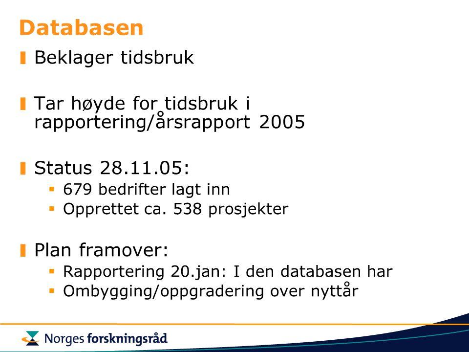 Databasen Beklager tidsbruk Tar høyde for tidsbruk i rapportering/årsrapport 2005 Status 28.11.05:  679 bedrifter lagt inn  Opprettet ca.