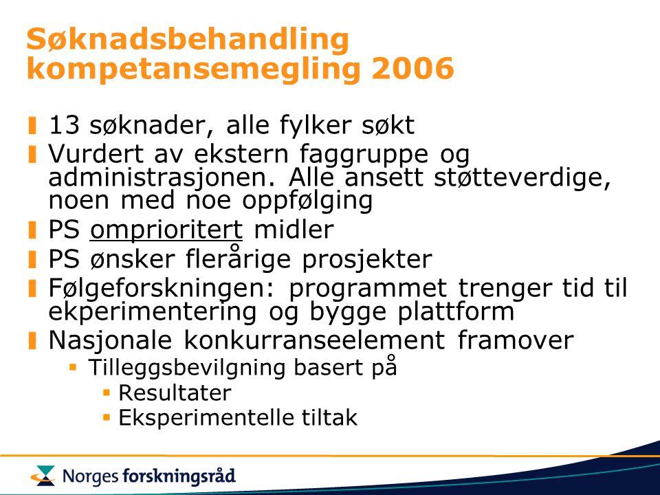 Søknadsbehandling kompetansemegling 2006 13 søknader, alle fylker søkt Vurdert av ekstern faggruppe og administrasjonen.
