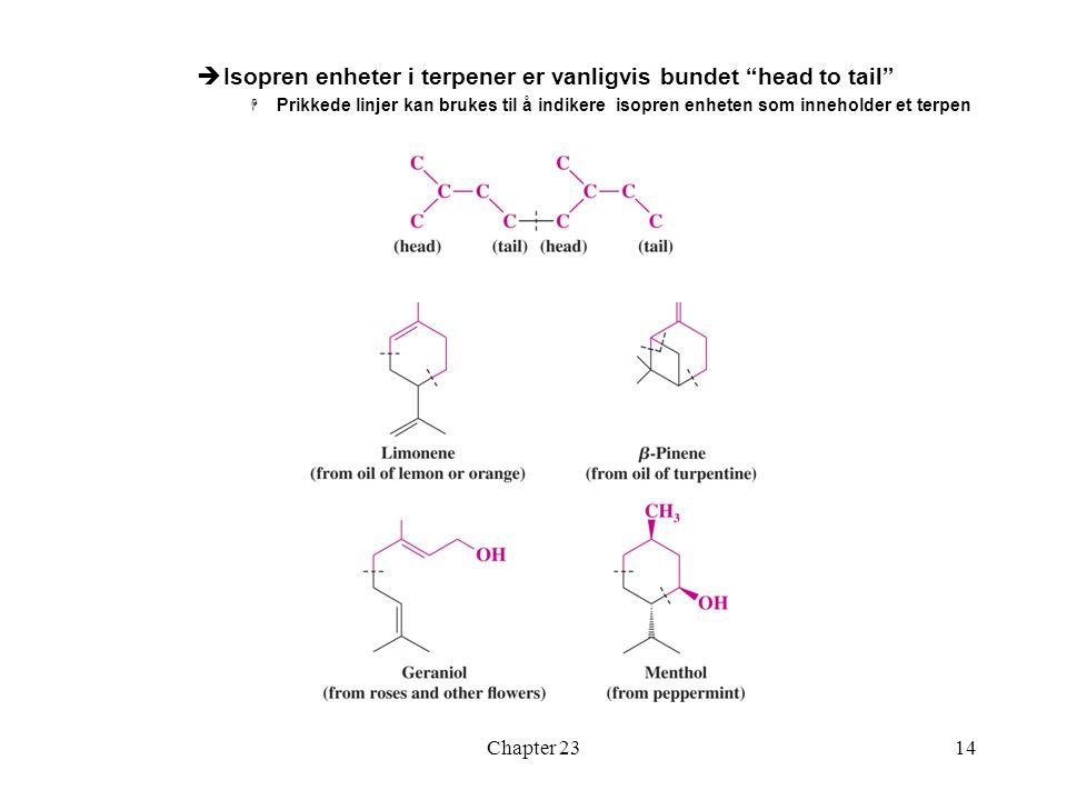 """Chapter 2314  Isopren enheter i terpener er vanligvis bundet """"head to tail""""  Prikkede linjer kan brukes til å indikere isopren enheten som inneholde"""