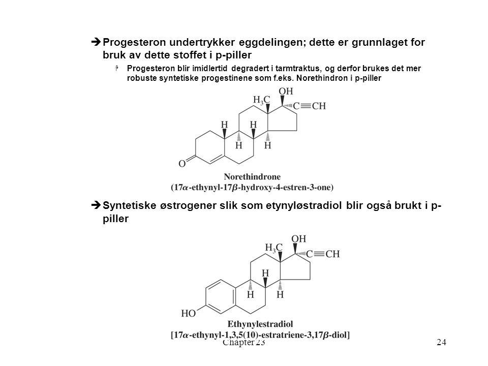 Chapter 2324  Progesteron undertrykker eggdelingen; dette er grunnlaget for bruk av dette stoffet i p-piller  Progesteron blir imidlertid degradert