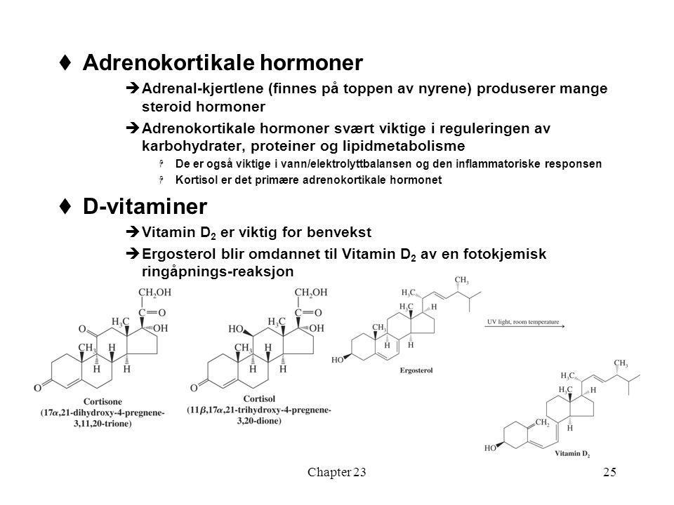 Chapter 2325  Adrenokortikale hormoner  Adrenal-kjertlene (finnes på toppen av nyrene) produserer mange steroid hormoner  Adrenokortikale hormoner