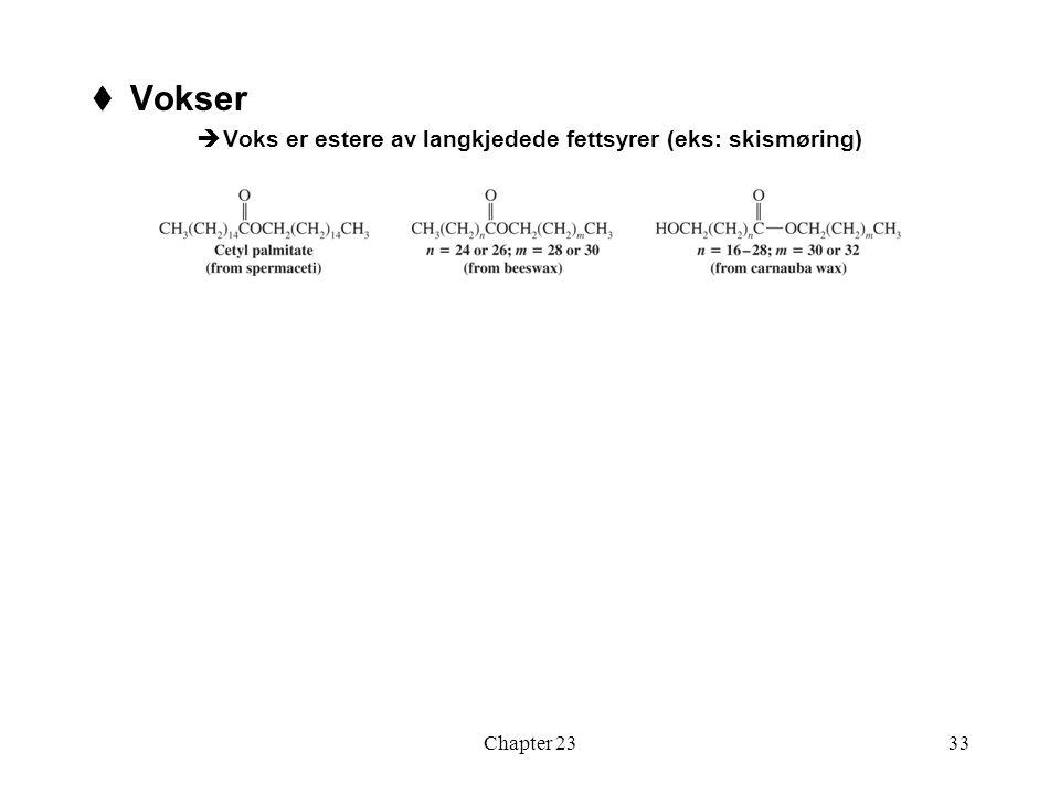 Chapter 2333  Vokser  Voks er estere av langkjedede fettsyrer (eks: skismøring)
