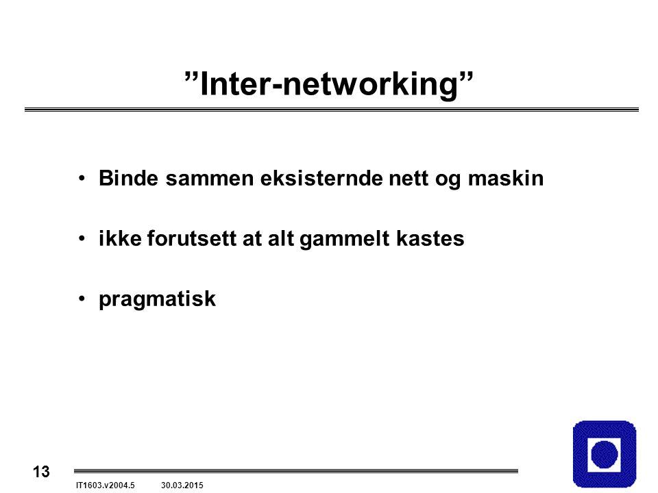13 IT1603.v2004.5 30.03.2015 Inter-networking Binde sammen eksisternde nett og maskin ikke forutsett at alt gammelt kastes pragmatisk