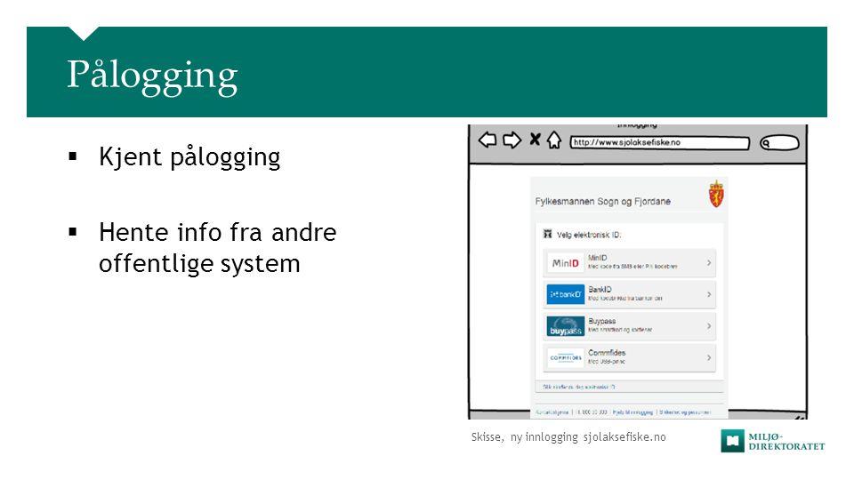 Skisse, ny innlogging sjolaksefiske.no Pålogging  Kjent pålogging  Hente info fra andre offentlige system