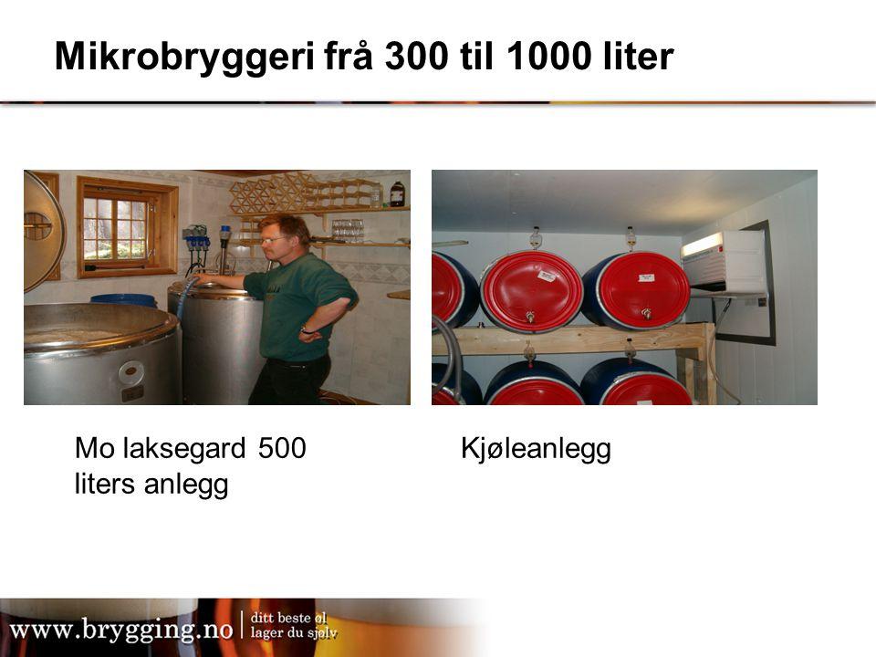 Mikrobryggeri frå 300 til 1000 liter Mo laksegard 500 liters anlegg Kjøleanlegg