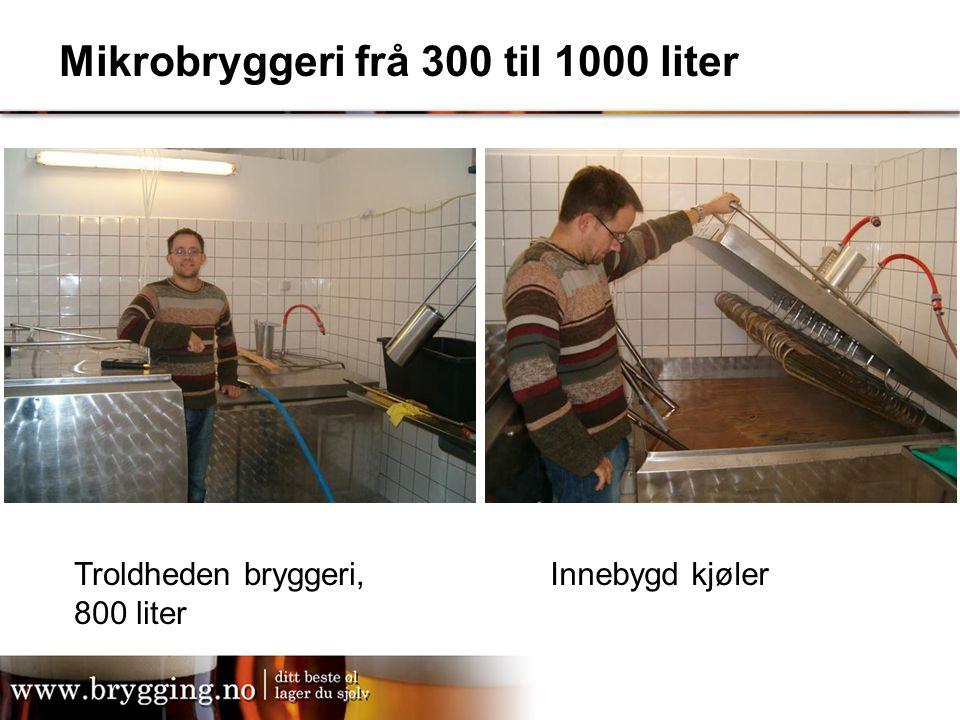 Mikrobryggeri frå 300 til 1000 liter Troldheden bryggeri, 800 liter Innebygd kjøler