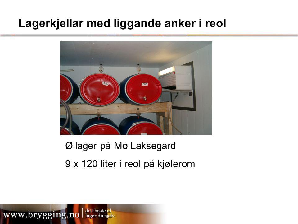 Lagerkjellar med liggande anker i reol Øllager på Mo Laksegard 9 x 120 liter i reol på kjølerom