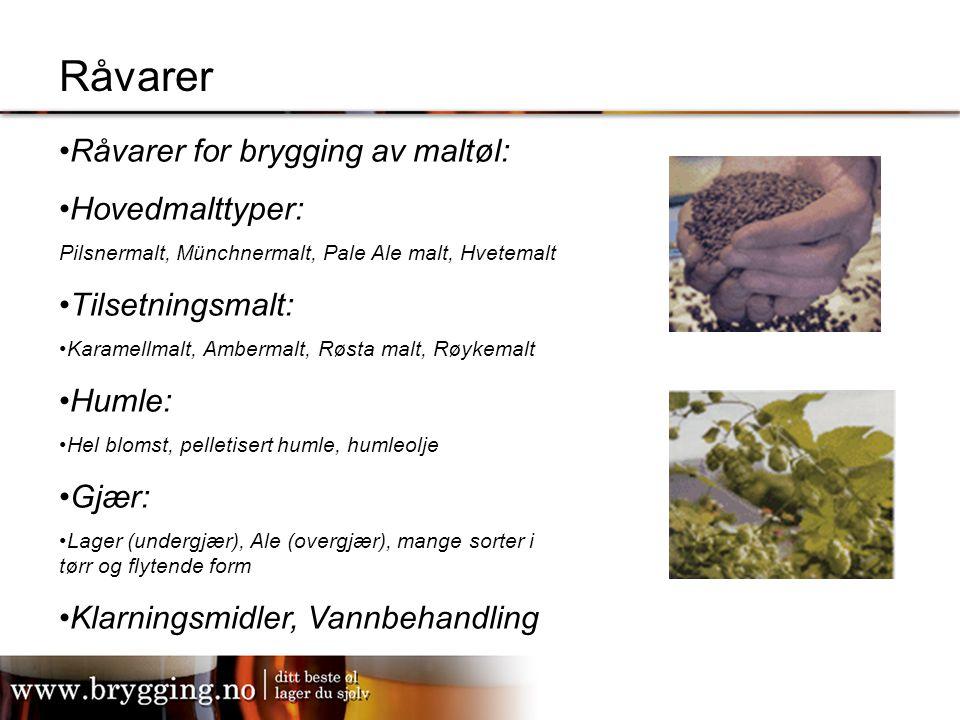 Råvarer Råvarer for brygging av maltøl: Hovedmalttyper: Pilsnermalt, Münchnermalt, Pale Ale malt, Hvetemalt Tilsetningsmalt: Karamellmalt, Ambermalt,