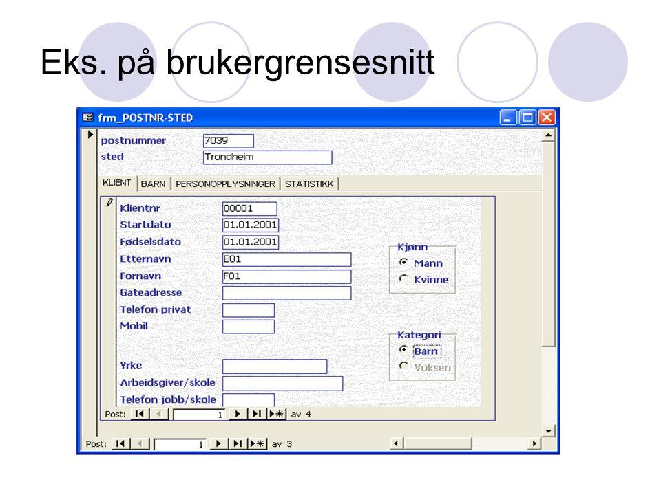 Anbefalinger Brukergrensesnittet bør utvikles i f.eks.
