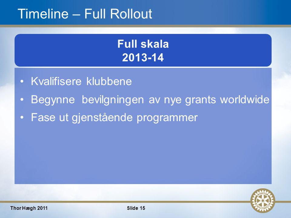 15 Thor Hægh 2011Slide 15 2008-09 2009-10 Full skala 2013-14 Kvalifisere klubbene Begynne bevilgningen av nye grants worldwide Fase ut gjenstående programmer Timeline – Full Rollout