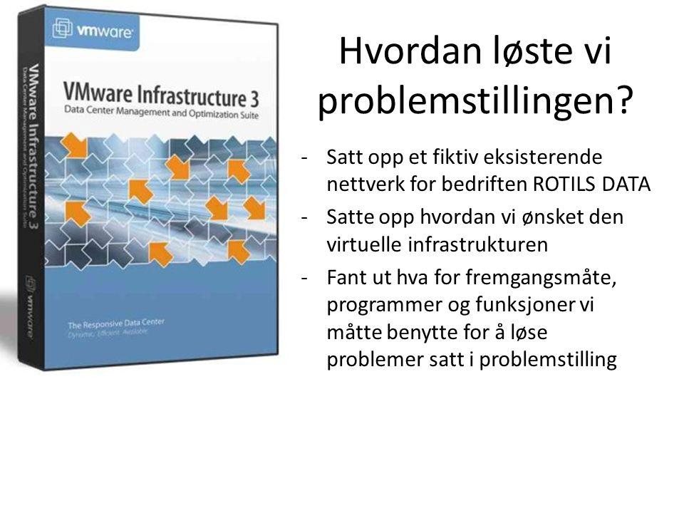 Fremgangsmåte og programmer -Installasjon av ESX Host -Installasjon av VirtualCenter Server -Installasjon av VI Client -Installerte Virtuell maskin for utføre VMware Converter prosessen -Kjørte VMware Converter for importering av fysiske maskiner -Satte opp infrastruktur i VI Client -Benyttet fordelene med Cluster, DRS, HA, NFS og Veeam Backup i VMware for å oppnå så driftssikkert nett som mulig