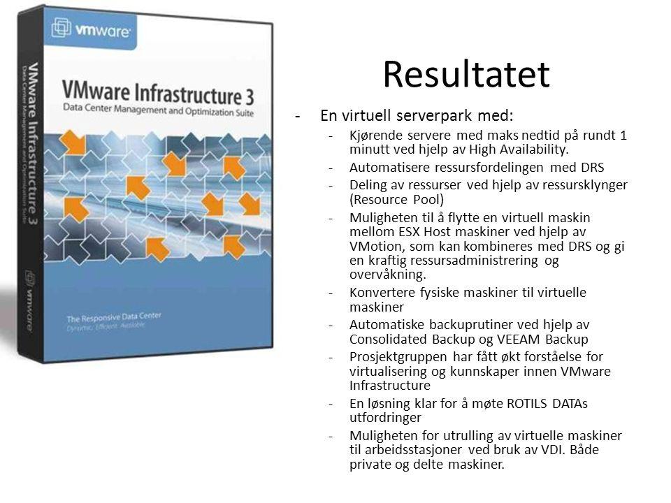 Anbefaling om videre arbeid -VMware Infrastructure er et stort tema og under stadig utvikling og oppdatering -Videre studering og følge med på hva som kommer på den fronten -Sette seg enda mer inn i det som vi har gått igjennom i prosjektet