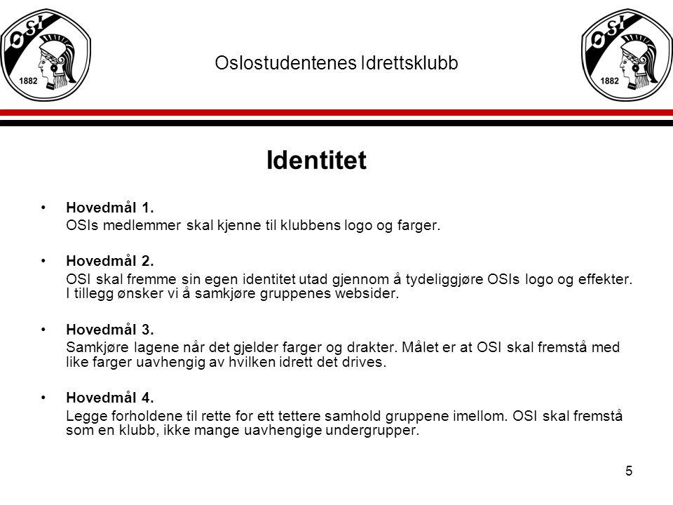 5 Oslostudentenes Idrettsklubb Identitet Hovedmål 1. OSIs medlemmer skal kjenne til klubbens logo og farger. Hovedmål 2. OSI skal fremme sin egen iden