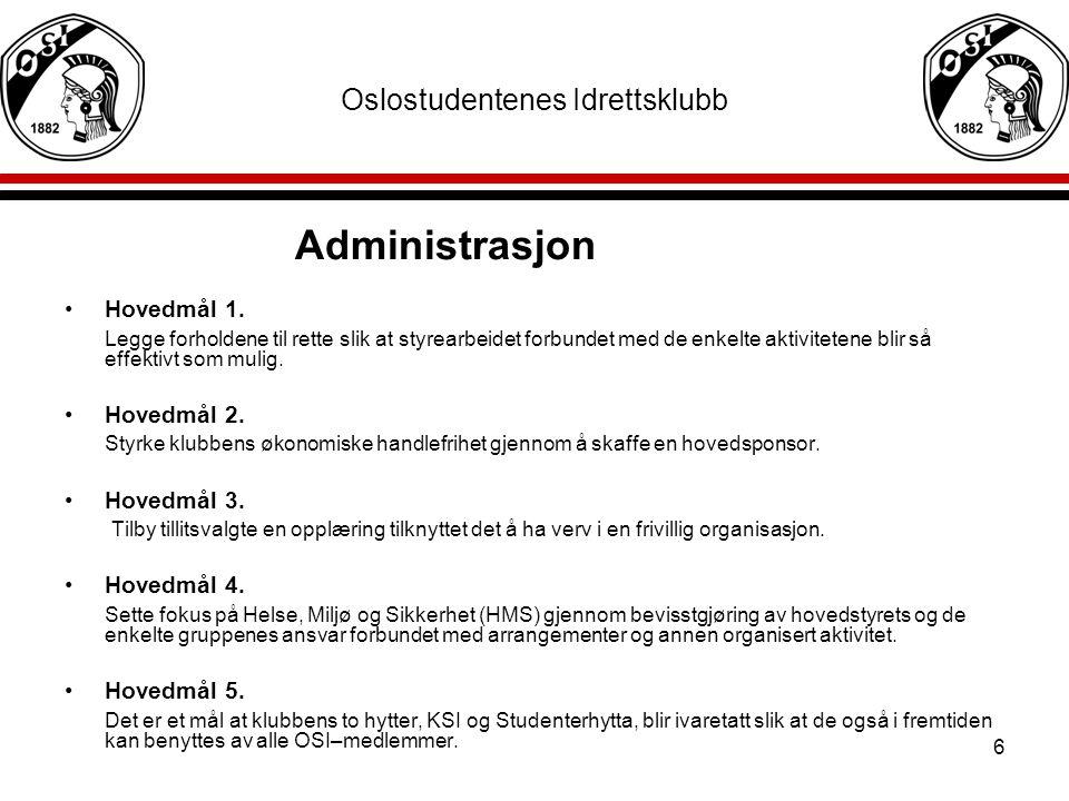 6 Oslostudentenes Idrettsklubb Administrasjon Hovedmål 1. Legge forholdene til rette slik at styrearbeidet forbundet med de enkelte aktivitetene blir