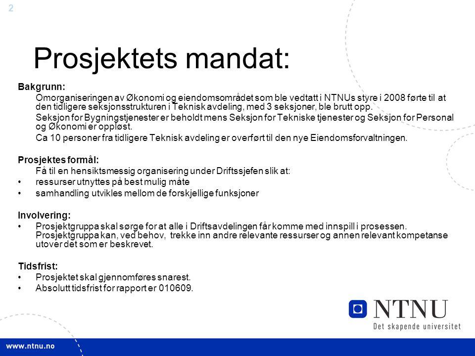 2 Prosjektets mandat: Bakgrunn: Omorganiseringen av Økonomi og eiendomsområdet som ble vedtatt i NTNUs styre i 2008 førte til at den tidligere seksjon