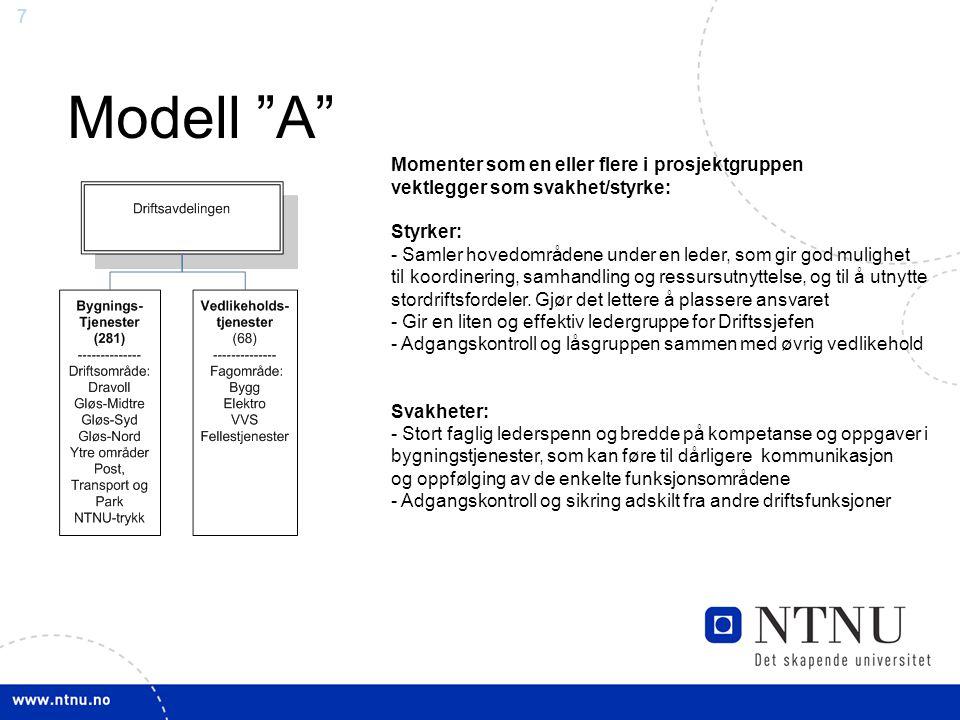 """7 Modell """"A"""" Momenter som en eller flere i prosjektgruppen vektlegger som svakhet/styrke: Styrker: - Samler hovedområdene under en leder, som gir god"""