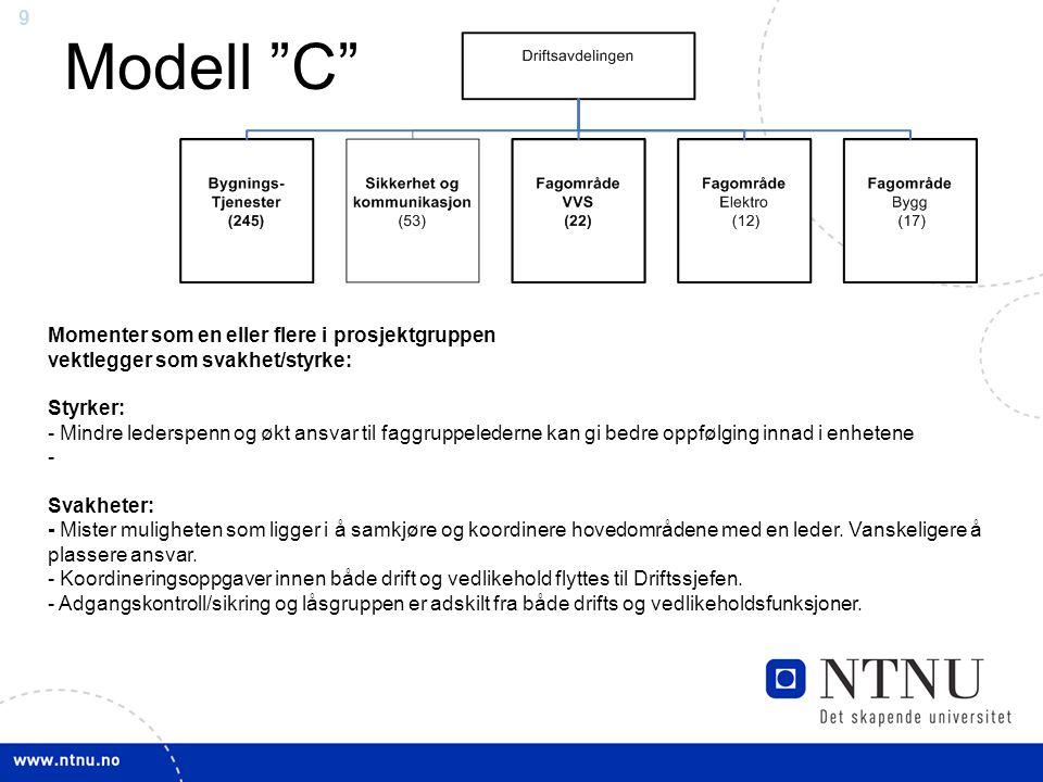 9 Modell C Momenter som en eller flere i prosjektgruppen vektlegger som svakhet/styrke: Styrker: - Mindre lederspenn og økt ansvar til faggruppelederne kan gi bedre oppfølging innad i enhetene - Svakheter: - Mister muligheten som ligger i å samkjøre og koordinere hovedområdene med en leder.
