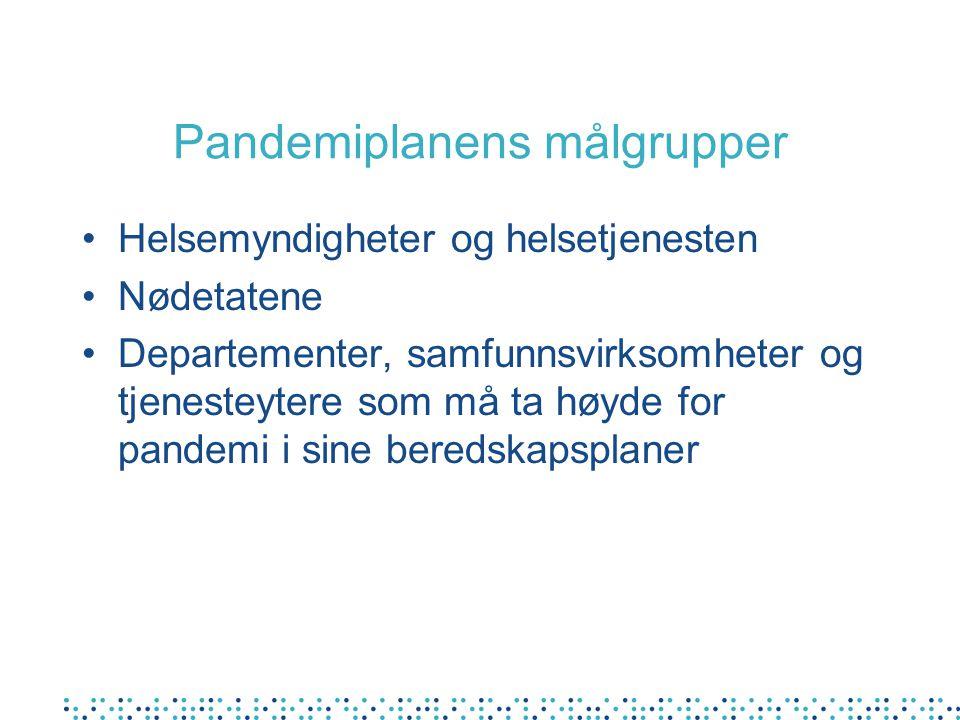 Pandemiplanens målgrupper Helsemyndigheter og helsetjenesten Nødetatene Departementer, samfunnsvirksomheter og tjenesteytere som må ta høyde for pande