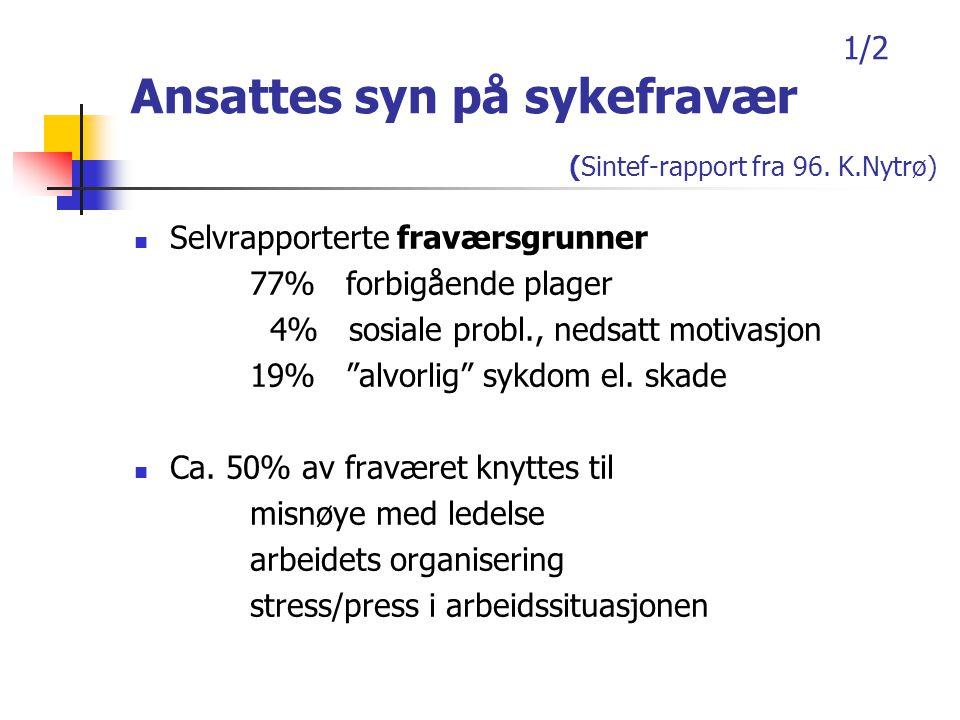 1/2 Ansattes syn på sykefravær (Sintef-rapport fra 96.