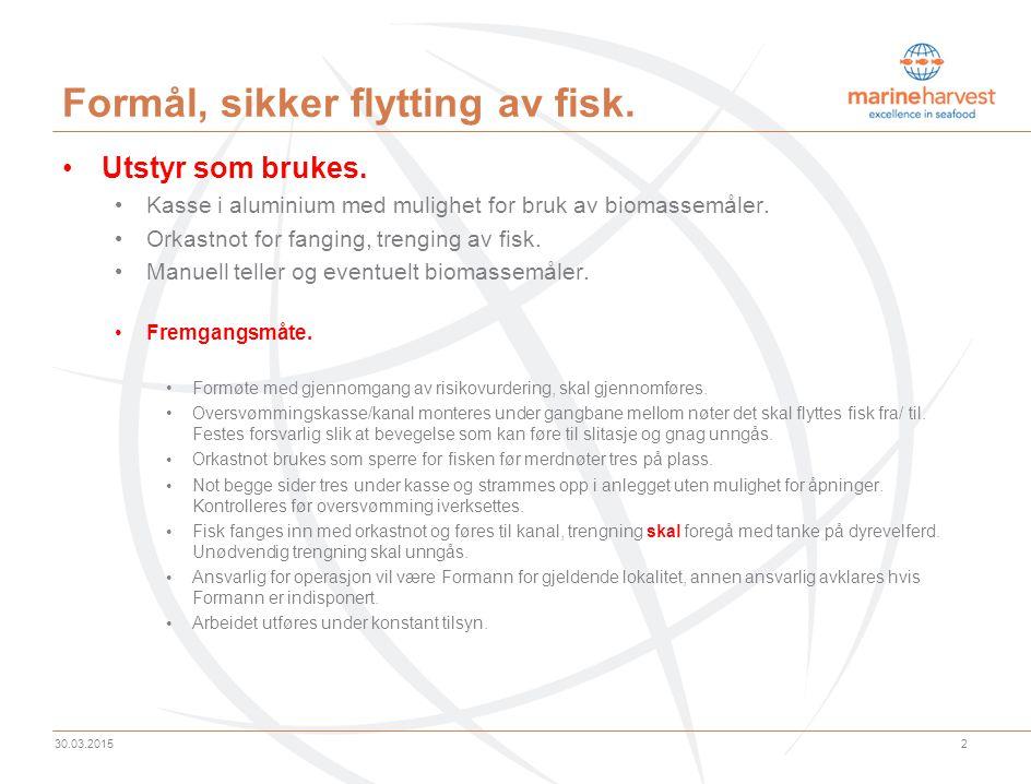 2 30.03.2015 Formål, sikker flytting av fisk.Utstyr som brukes.