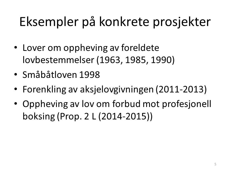 Eksempler på konkrete prosjekter Lover om oppheving av foreldete lovbestemmelser (1963, 1985, 1990) Småbåtloven 1998 Forenkling av aksjelovgivningen (2011-2013) Oppheving av lov om forbud mot profesjonell boksing (Prop.
