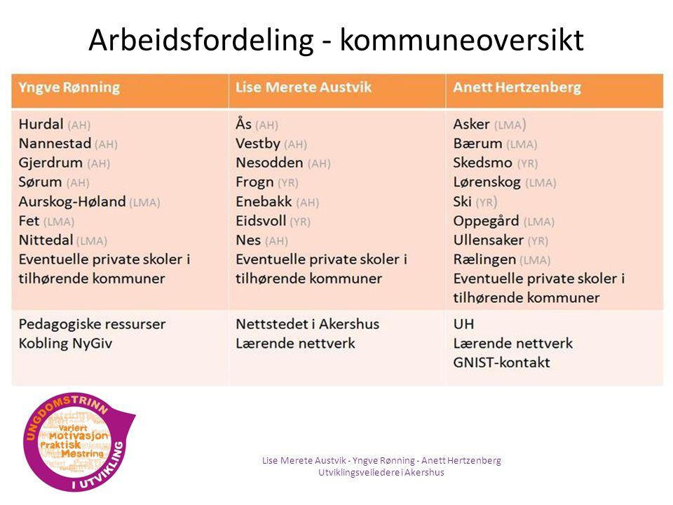 Arbeidsfordeling - kommuneoversikt Lise Merete Austvik - Yngve Rønning - Anett Hertzenberg Utviklingsveiledere i Akershus