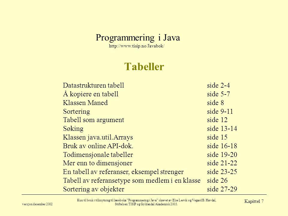 Programmering i Java http://www.tisip.no/Javabok/ versjon desember 2002 Kun til bruk i tilknytning til læreboka Programmering i Java skrevet av Else Lervik og Vegard B.