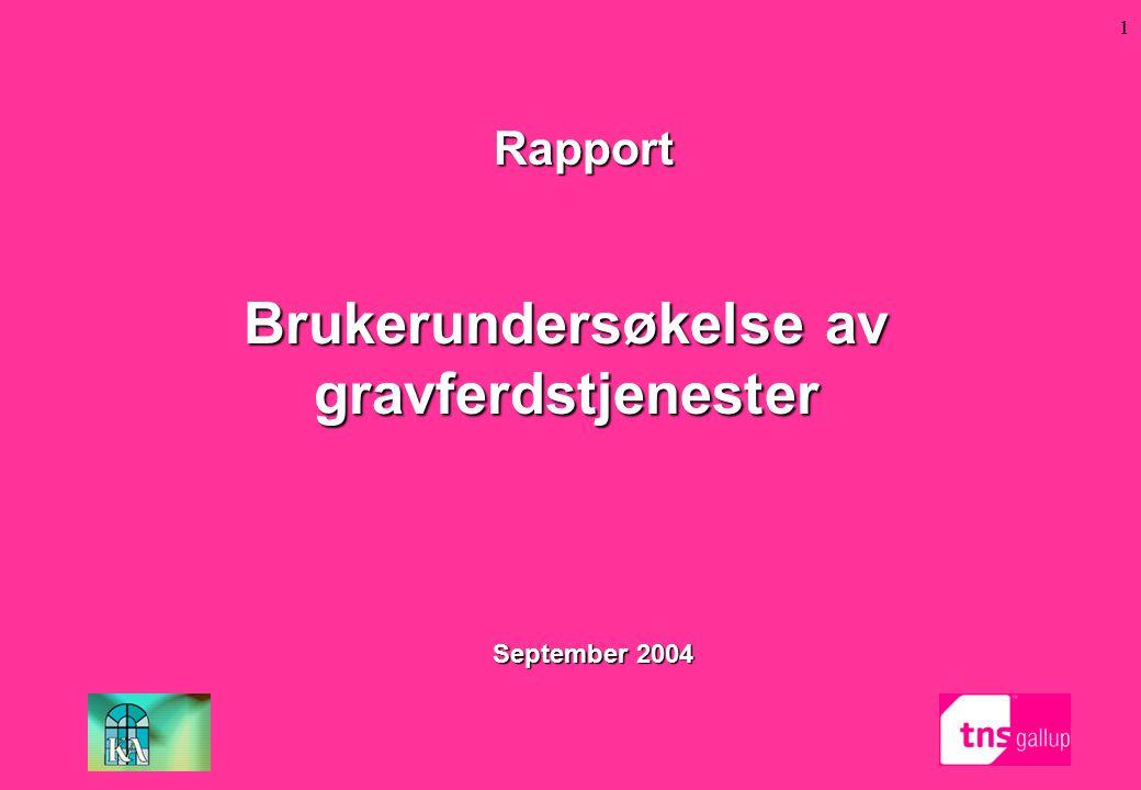 1 September 2004 Rapport Brukerundersøkelse av gravferdstjenester